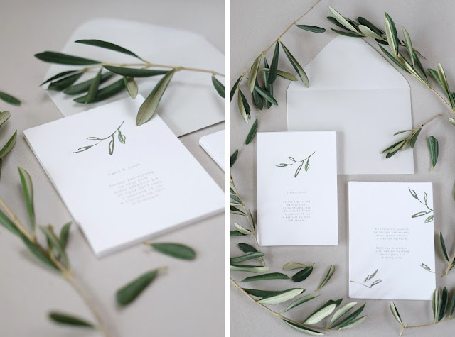 Delikatne zaproszenia na ślub z motywem roślinnym od Love Prints.