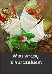 Mini wrapy z kurczakiem tortilla sałatka w tortilli przekąski sałatka na wynos przepis mechanik w kuchni filet z kurczaka ogórek papryka kiełki