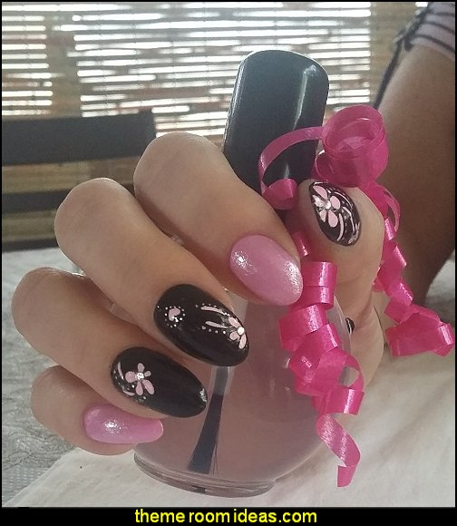 pink black nail design ideas nail stickers nail design maries manor theme decorating