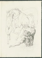 An illustration of a nude man with his arms around a horse's neck, slightly overlap with a man waist-deep in water.