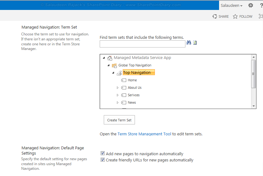 sharepoint 2013 managed navigation term set
