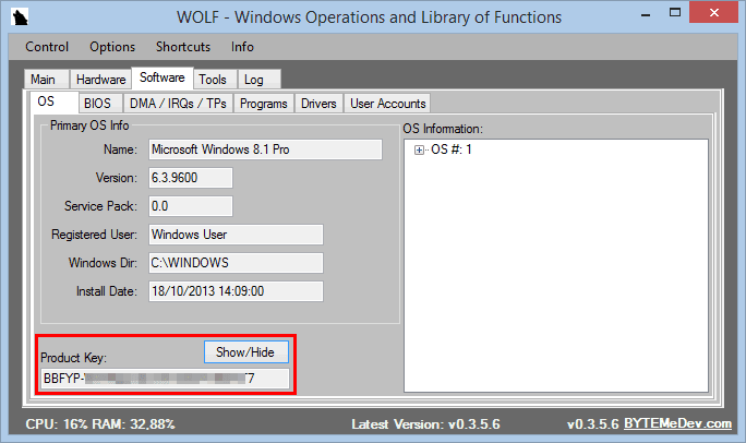 WOLF (Windows Operations and Library of Functions)