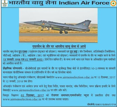Indian Air Force Airman Recruitment 2018 Technical, Non Technical XY