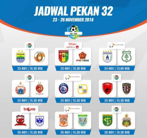 Jadwal Siaran Langsung Liga 1 2018 Pekan 32