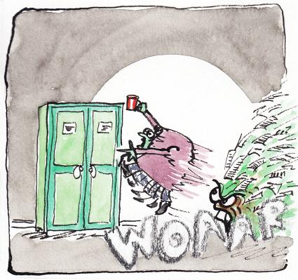 Flucht vor dem Montag Morgen Schreibtisch - ein Comic Bild