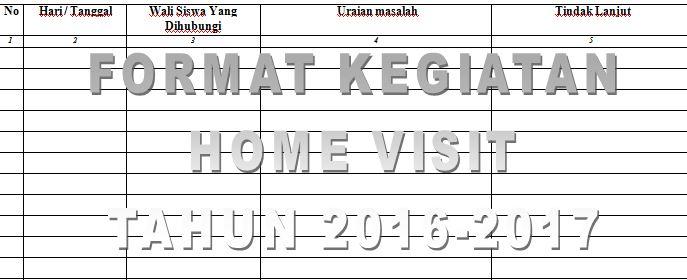 Contoh Format Rekapitulasi Kegiatan Home Visit atau Kunjungan Rumah Tahun Ajaran 2016-2017 dengan Microsoft Word