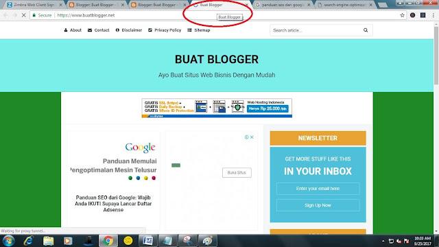 contoh judul laman yang dapat dilihat pada browser chrome ketika akses www.buatblogger.net