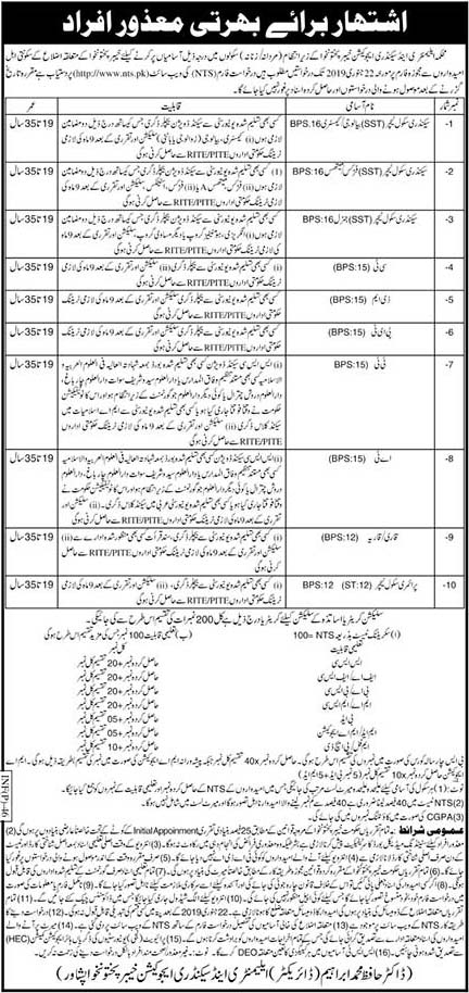 NTS Jobs In Elementary and Secondary Education Department, CT, DM, PET, TT,AT, QARI, PST,