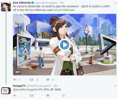 Phoenix Wright Ace Attorney Spirit of Justice Twitter sale 60% off Ema Skye franchise Nintendo 3DS eShop North America
