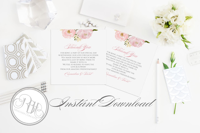 Dusty Pink Peonies, Roses, Wedding, Thank You Card, template