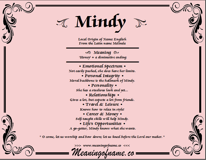 Mindy - Meaning of Name
