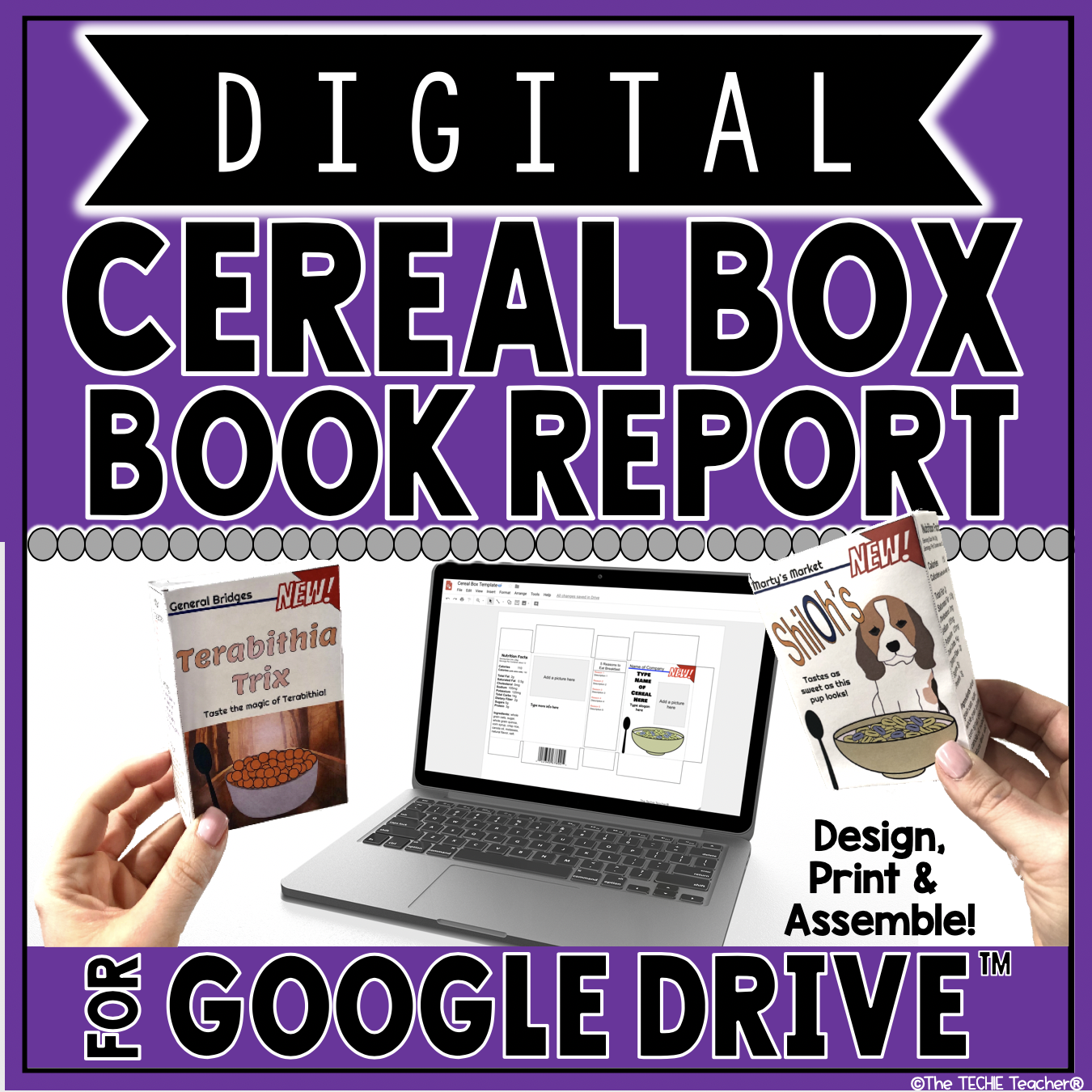 Digital Cereal Box Book Report for Google Drive