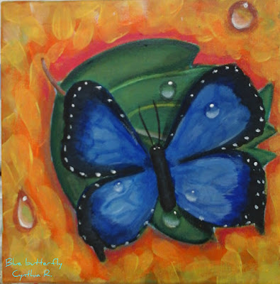 blue butterfly, mariposa azul, pintura acrílica en canvas, acrylic painting on canvas, mariposa con gotas de lluvia,