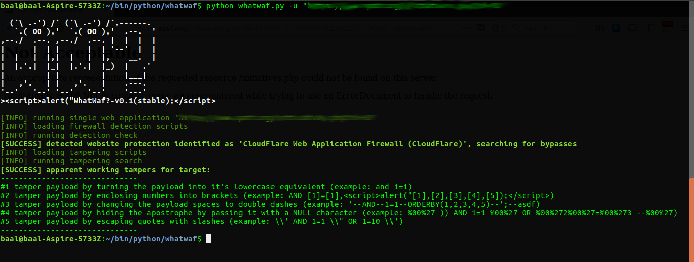 WhatWaf - Detect And Bypass Web Application Firewalls And Protection