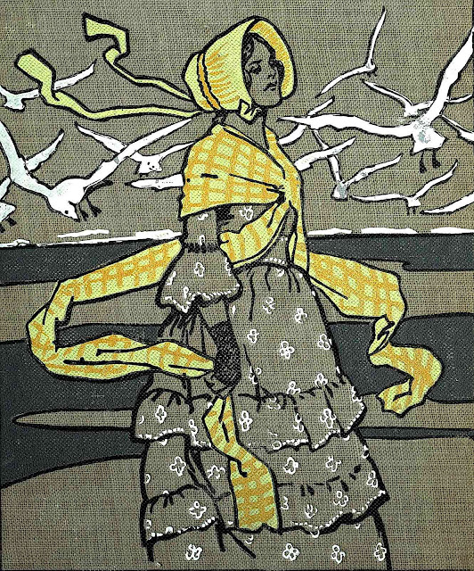 a Gordon Browne silkscreened cloth book cover illustration of a woman at the shore with gulls