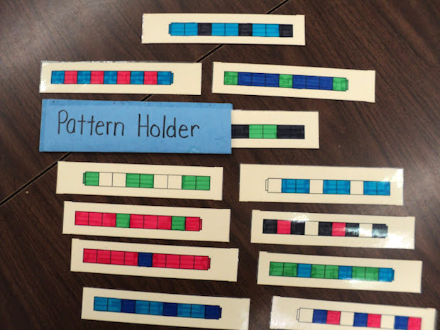 Pattern Trains to use during calendar time. Teaching patterns to first graders.