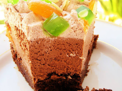 Chocolate and apricot cake