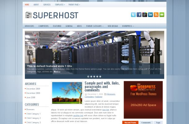 Free Wordpress Hosting Blue Jquery Theme Template