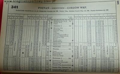 Sieciowy Rozkład Jazdy Pociągów - tabela 341