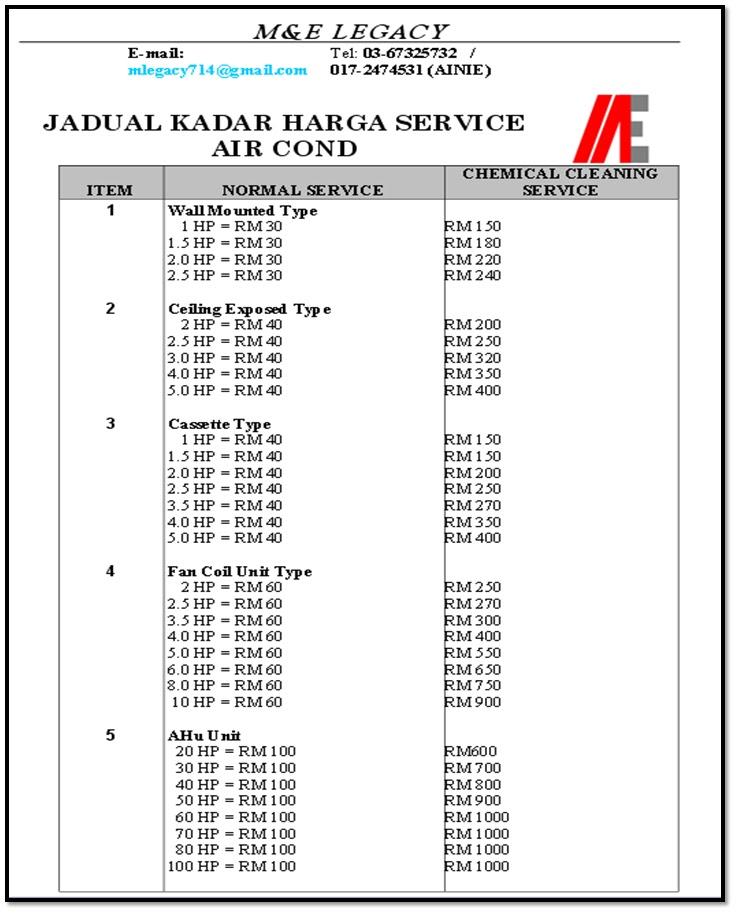 jadual kadar harga untuk install  repair dan service air