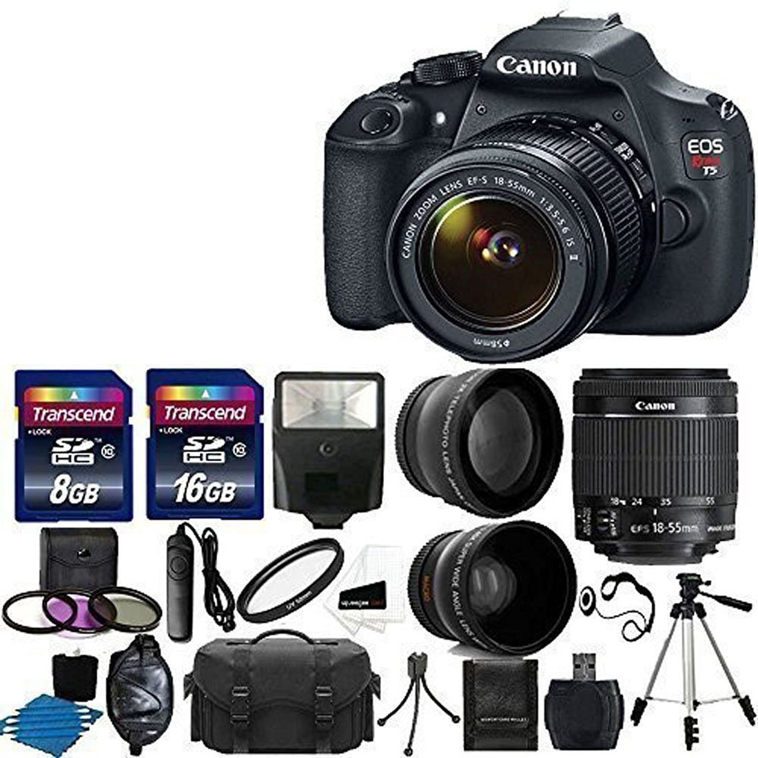 Camera Dslr Camera Info canon eos rebel t5 dslr digital camera ultimate package info ef s 18 55mm f3 5 6 is lens 2x telephoto 58mm wide angle flash 5