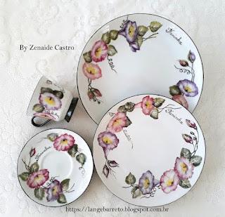 Conjunto porcelana pintado à mão