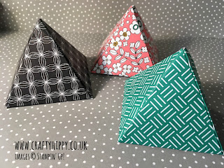 Learn how to create these gorgeous Pyramid Favours using patterned paper from Stampin' Up!