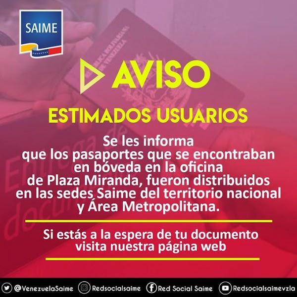 Más de mil 360 pasaportes se distribuyeron en oficinas del Saime en el país