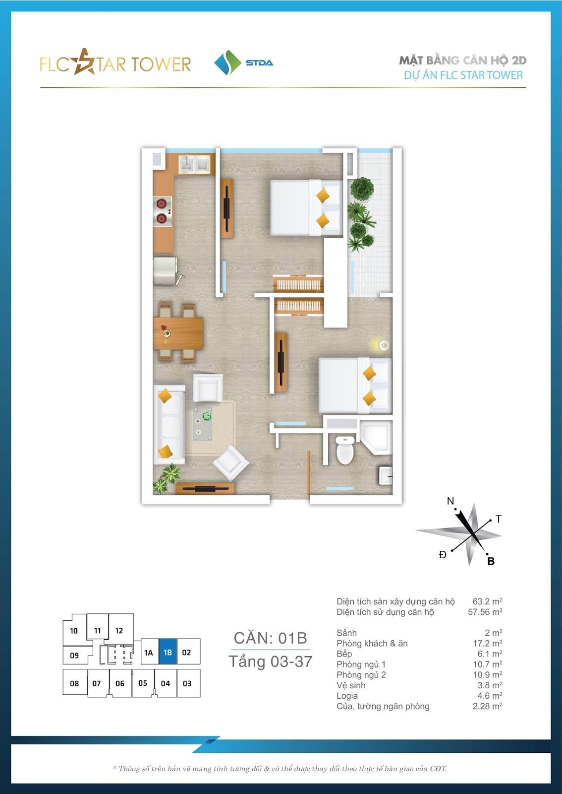 Thiết kế căn hộ 1B - Chung cư FLC Star Tower Hà Đông