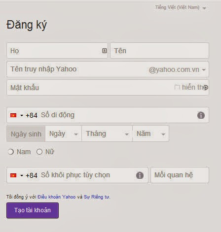 Điền thông tin để đăng ký yahoo mail