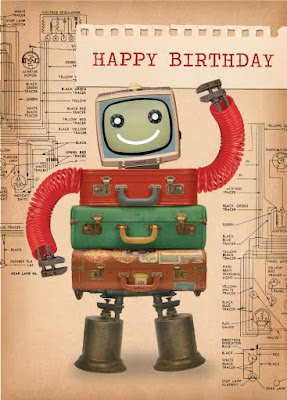 Paulo Viveiros Retro Robot Birthday Designs