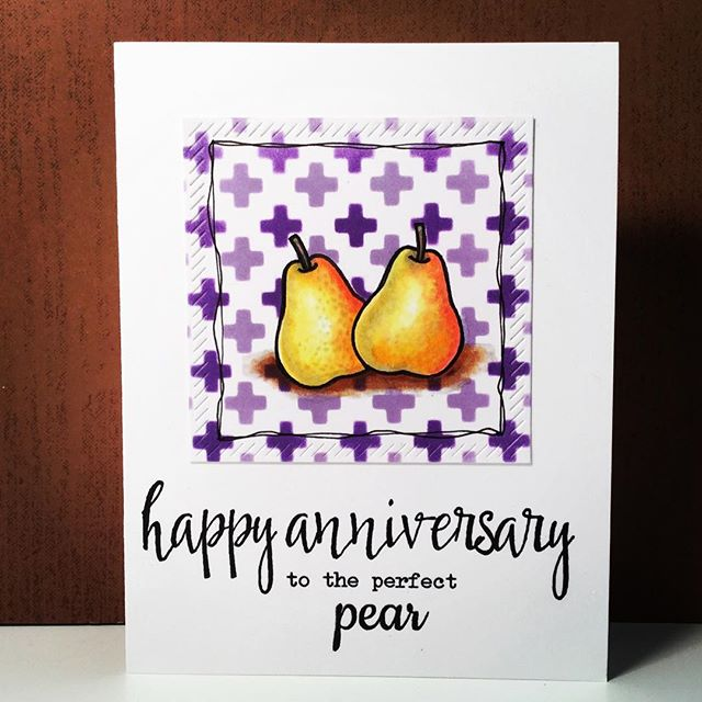 Sunny Studio Stamps: Fresh & Fruity Perfect Pear Anniversary Card by Maggie