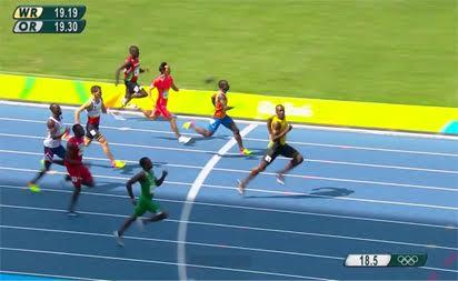 Nigeria's Divine Odurudu finishes 2nd behind Bolt in 200m heat