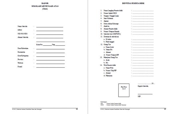 Format Raport SMA dan Petunjuk Pengisian sesuai Panduan Penilaian dari Kemdikbud