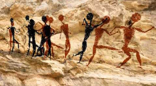 Paleolithic dancing depicted on a cave wall