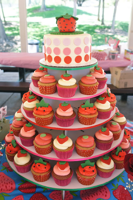 Strawberry themed cupcake tower