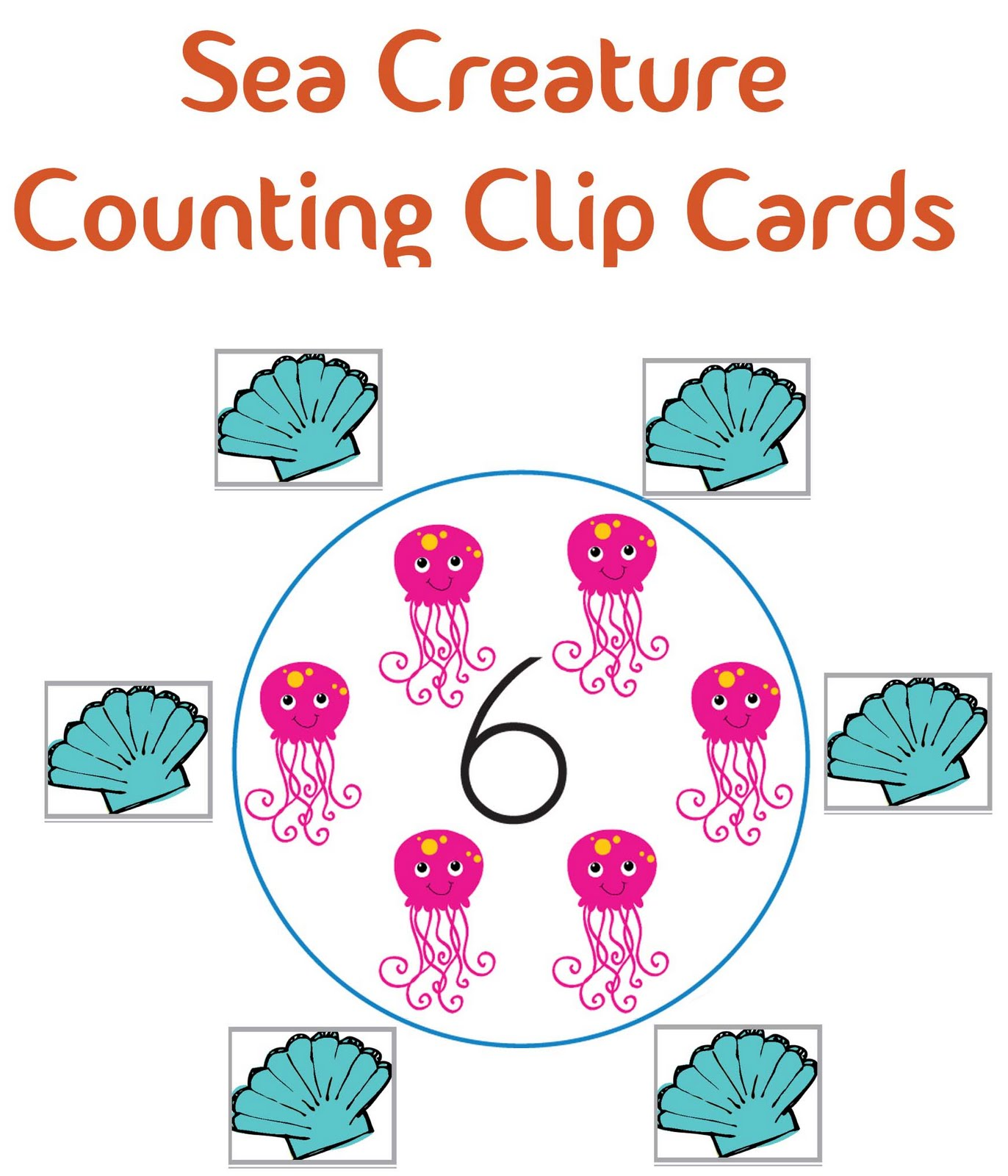 Little Piles Everywhere Sea Creature Counting Clip Cards