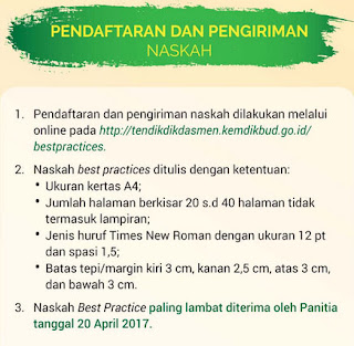 pendaftaran dan pengiriman naskah lomba apresiasi best practice 2017