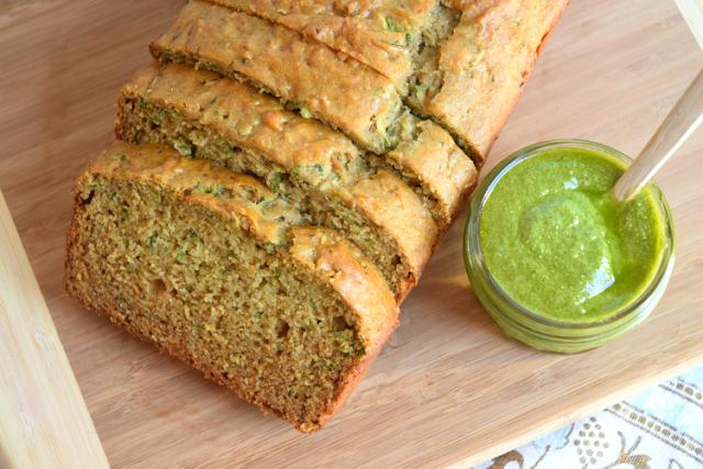 Pesto Zucchini Quick Bread