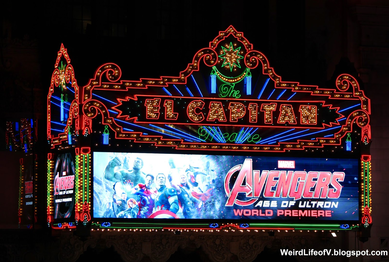 El Capitan Marquee advertising the Avengers: Age of Ultron premiere