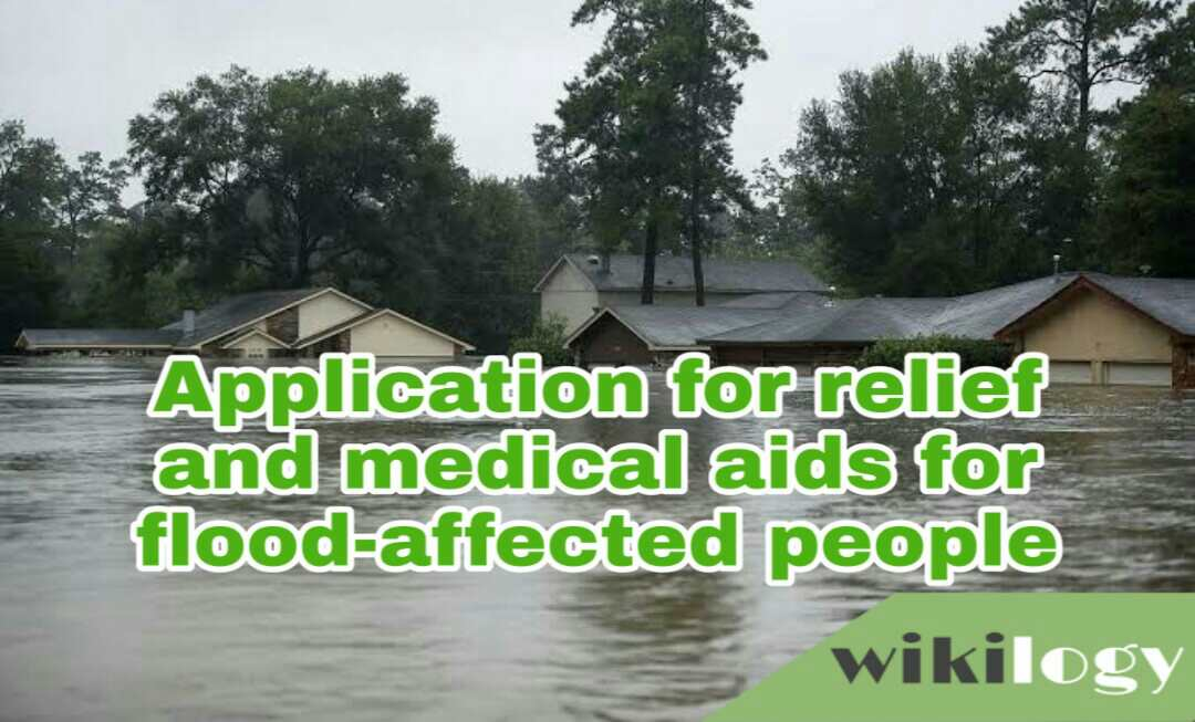 Application to the DC (Deputy Commissioner) for relief and medical aids for the flood-affected people