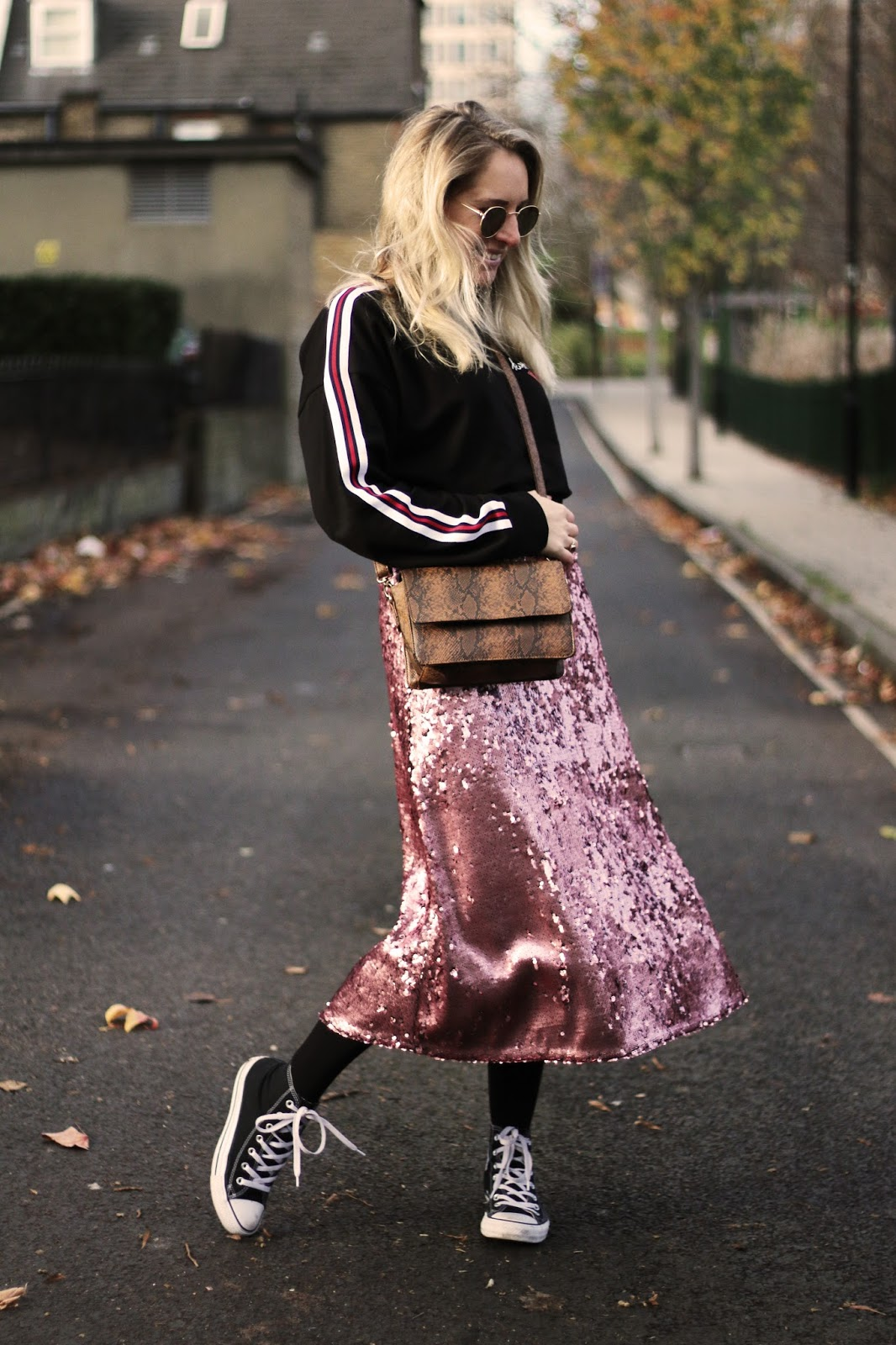 5df10c24317 Jumper c o - Shein   Skirt - H M   Bag - La Redoute   Trainers - Converse    Sunglasses - Ebay. Sequin skirt