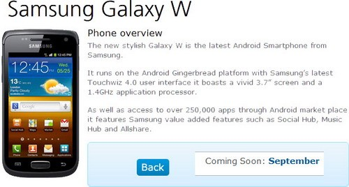 Samsung Galaxy W coming to O2 UK, too