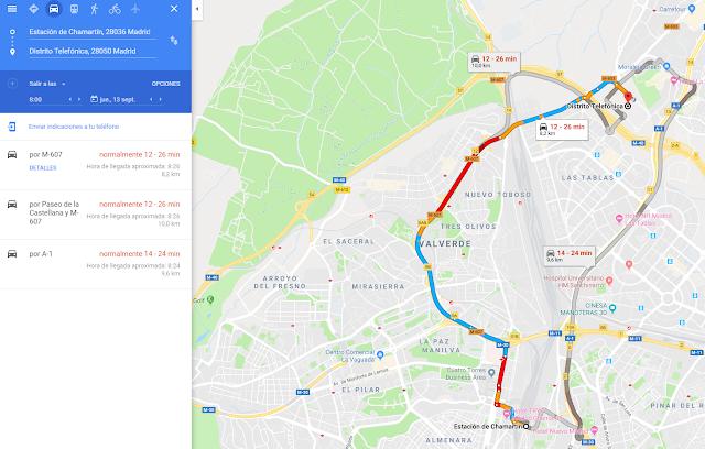 Estimación de la duración del trayecto usando Google Maps.