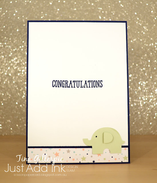 scissorspapercard, Stampin' Up!, Just Add Ink, Well Written Bundle, Elephant Builder Punch, Starburst Punch, Baby Card