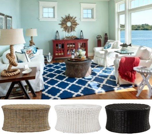 Round Wicker Coffee Table in White Brown Black