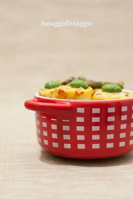 crespelle gialle con brie ed asparagi