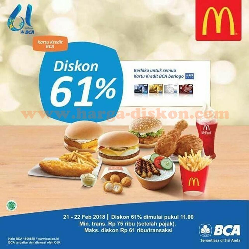 Promo Mcdonalds Diskon 61 Dengan Kartu Bca Periode 21 22 Februari 2018 Harga Diskon