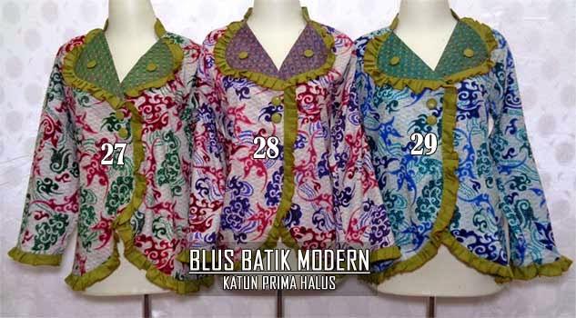 Blus batik modern lengan panjang dan 3/4