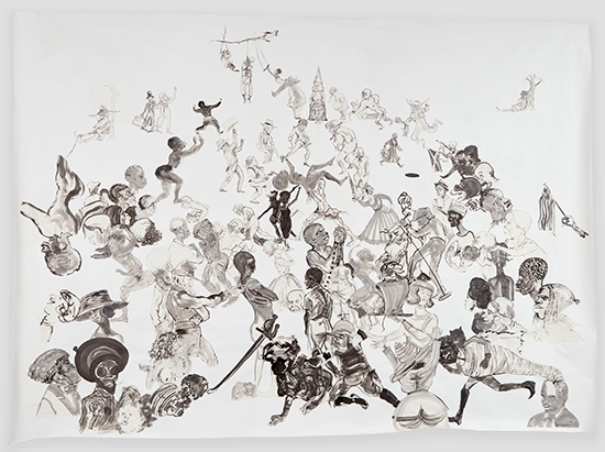 Kara Walker  Christ's Entry into Journalism, 2017 Sumi ink and collage on paper 355.6 x 497.8 cm